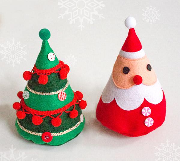 weihnachtsmann und weihnachtsbaum aus filz kreativlabor. Black Bedroom Furniture Sets. Home Design Ideas