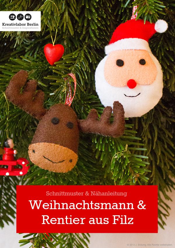 Weihnachtsmann & Rentier aus Filz