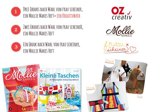 Handmade Karussel Tag 2: Gewinne heute 6 Ebooks von frau scheiner, ein Kreativbuch und 3 Mollie Makes Hefte!