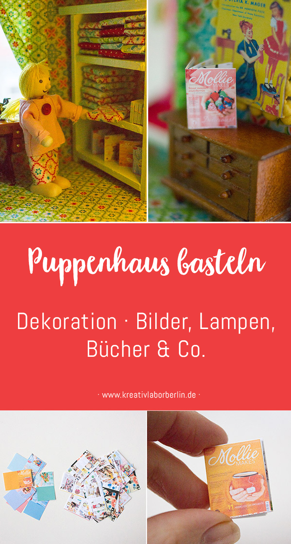 Neugestaltung eines Puppenhauses: 5. Dekoration · Bilder, Lampen, Bücher & Co.