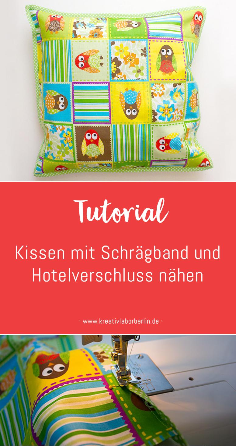 DIY-Anleitung: Kissen mit Schrägband & Hotelverschluss