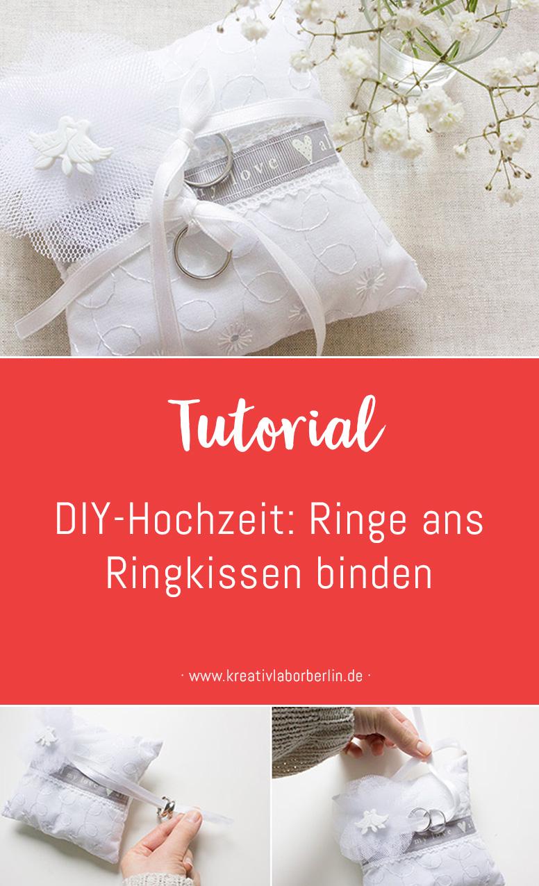 DIY-Anleitung zur Hochzeit: Ringe ans Ringkissen binden
