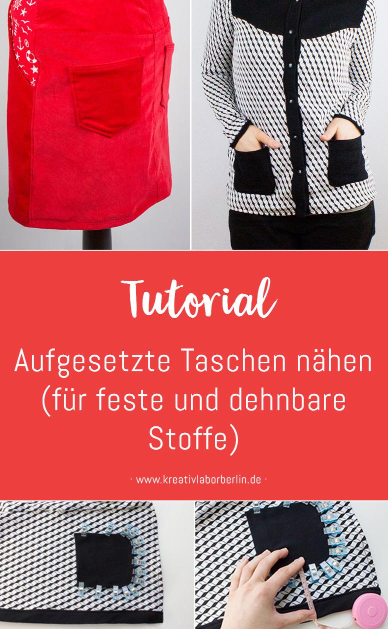 Kleine Nähschule: Aufgesetzte Taschen nähen (für feste und dehnbare Stoffe)