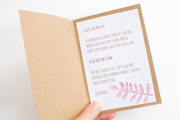 Einladung zum Herbst-Geburtstag basteln