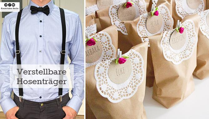 Verstellbare Hosenträger und eine Idee für Gastgeschenke