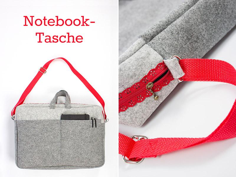 Schnittmuster & Nähanleitung für eine Notebooktasche aus Filz