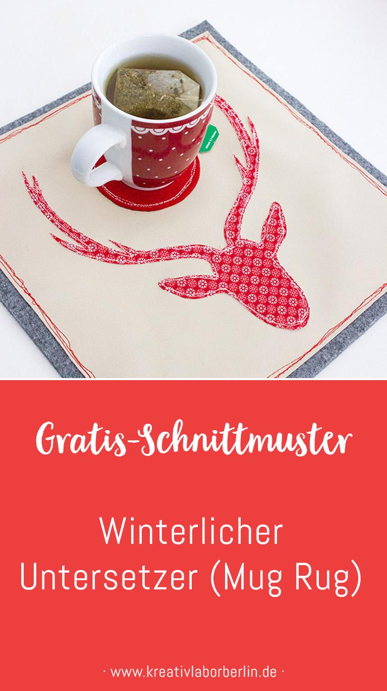 Schnittmuster & Nähanleitung Winterlicher Untersetzer (Mug rug)