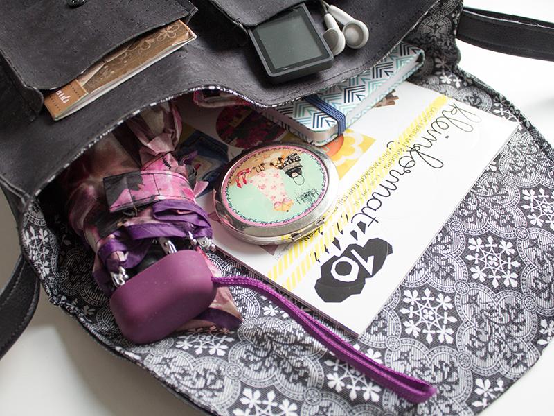 Nähanleitung: Eine Retrotasche aus Kork mit Innenfutter und Tragegurt nähen