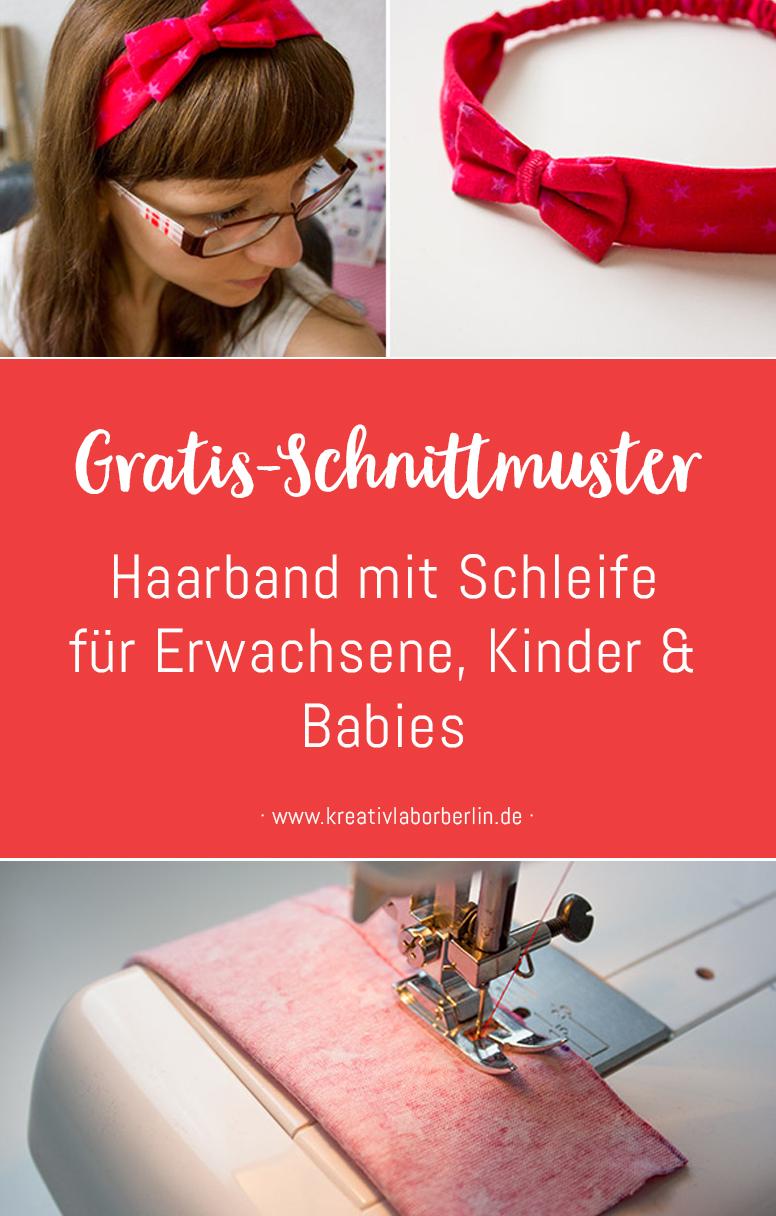 Haarband mit Schleife in 5 Größen (Baby bis Erwachsene)
