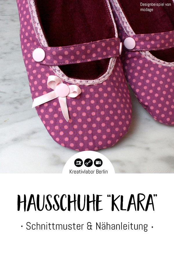 "Schnittmuster & Nähanleitung Ballerina-Hausschuhe ""Klara"""