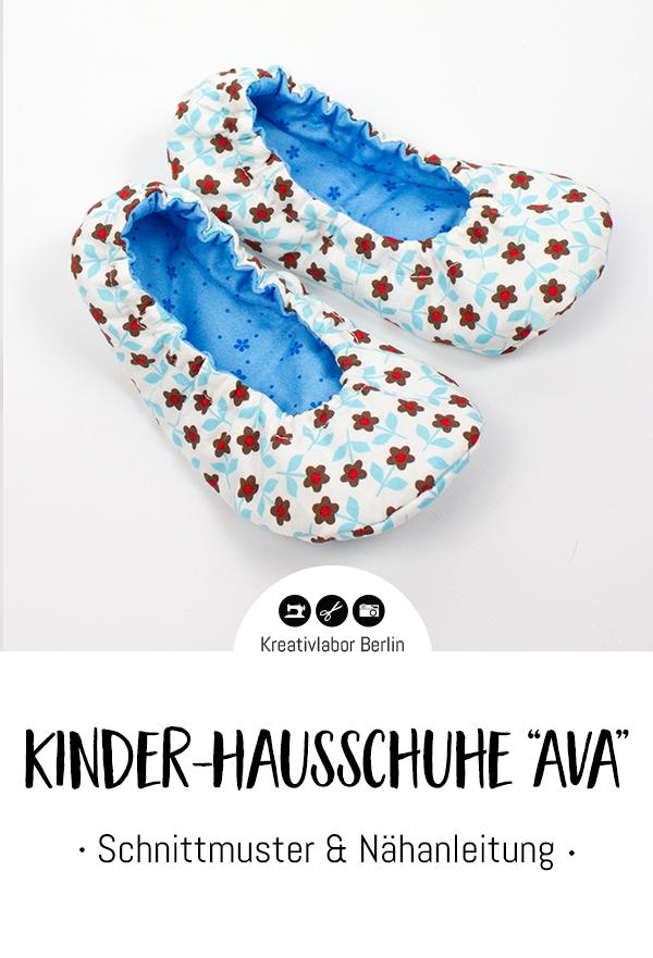 """Schnittmuster & Nähanleitung Kinder-Hausschuhe """"Ava"""""""