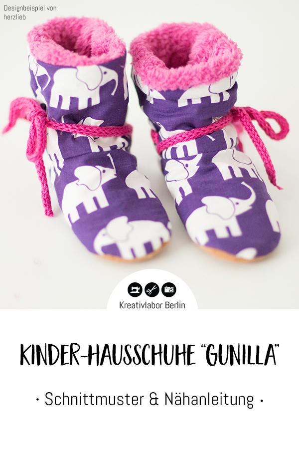 """Schnittmuster & Nähanleitung Kinder-Hausschuhe """"Gunilla"""""""