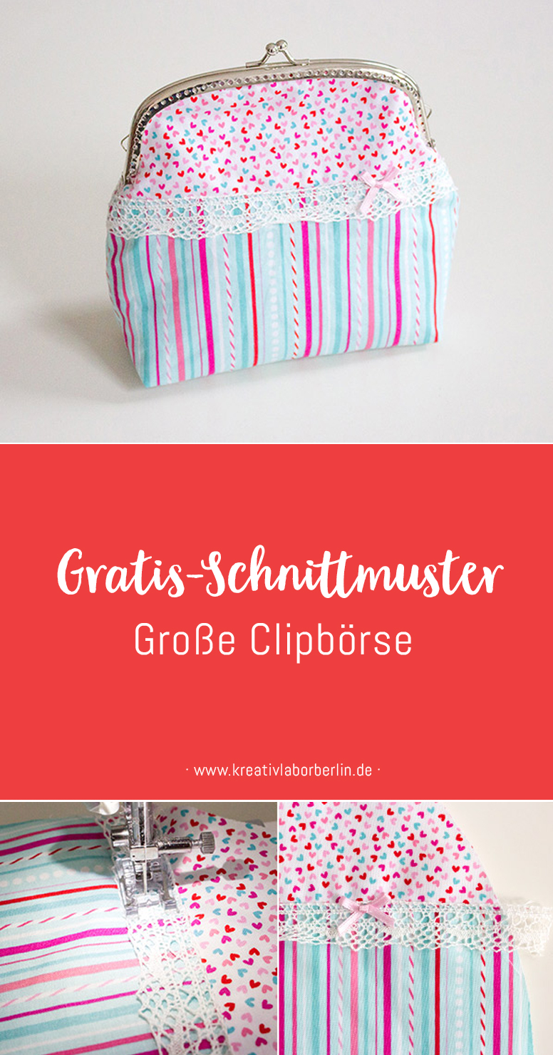 Große Clipbörse: Eine kleine Handtasche / Kosmetiktasche mit Taschenbügel selbst nähen