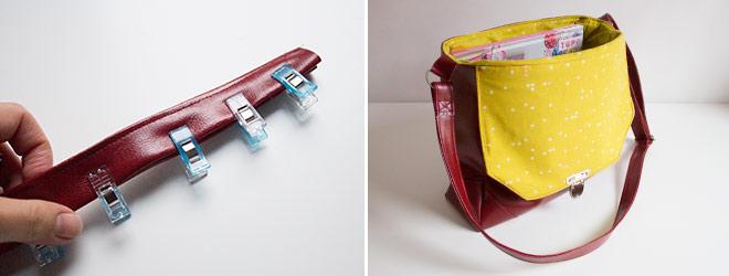 """Nähanleitung: Tasche """"Klein-Smilla"""" aus Kunstleder (ohne offene Kanten)"""