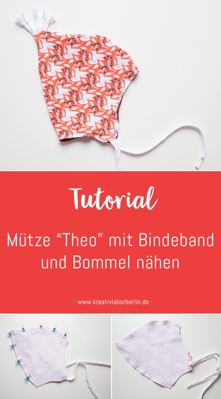 """Mütze """"Theo"""" mit Bindeband und Bommel nähen"""