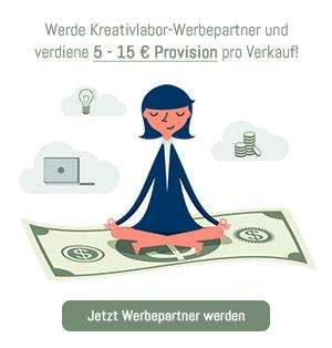 Werde Kreativlabor-Werbepartner und verdiene 5 - 15 Euro pro Verkauf