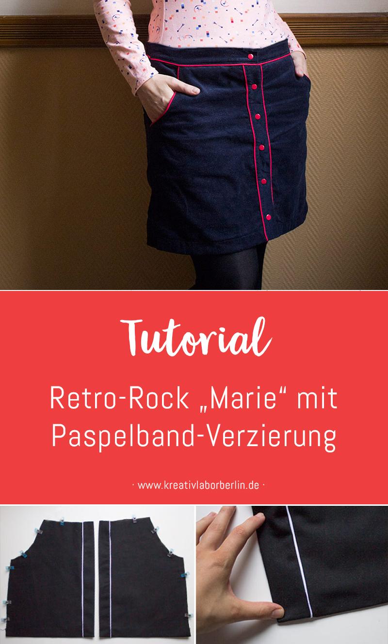 "Retro-Rock ""Marie"" mit Paspelband-Verzierung"