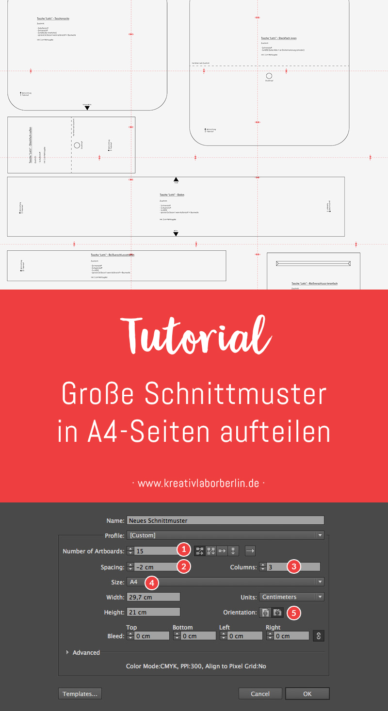 Schnittmuster-Erstellung: Große Schnittmuster in A4-Seiten aufteilen