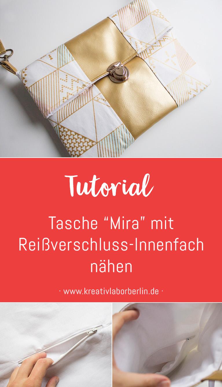 """Nähanleitung: Handtasche """"Mira"""" mit Reißverschluss-Innenfach nähen"""
