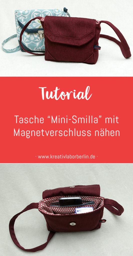 """Tutorial: Tasche """"Mini-Smilla"""" mit Magnetverschluss nähen"""