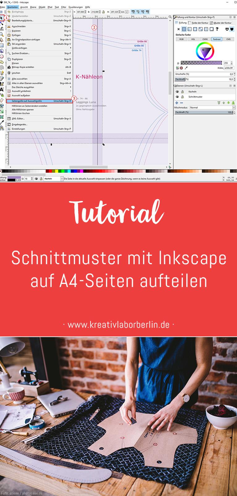 Tutorial: Schnittmuster mit Inkscape auf A4-Seiten aufteilen