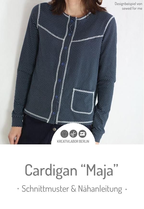 "Schnittmuster & Nähanleitung für den Cardigan ""Maja"" #schnittmuster #nähen #cardigan #strickjacke #knopfleiste #damen #frauen #kreativlaborberlin"