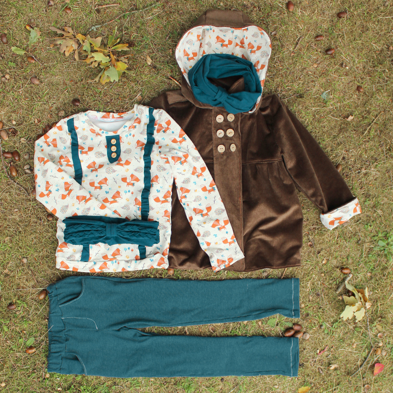 Schnittmuster & Nähanleitung Herbsset für Kinder: Hose, Shirt, Mantel, Loop & Stirnband