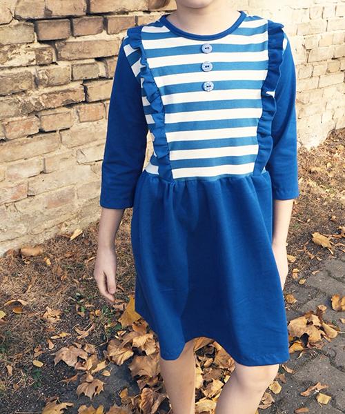 """Kinderkleid """"Mila"""" genäht aus Siebenblau-Stoffen von Zwergenluxus"""