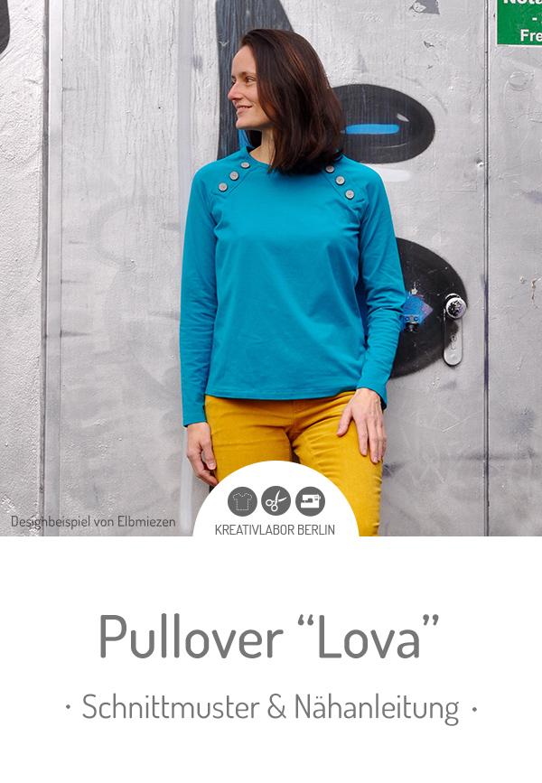 "Schnittmuster & Nähanleitung für den Pullover ""Lova"" #schnittmuster #nähen #pullover #knopfleiste #damen #frauen #kreativlaborberlin"