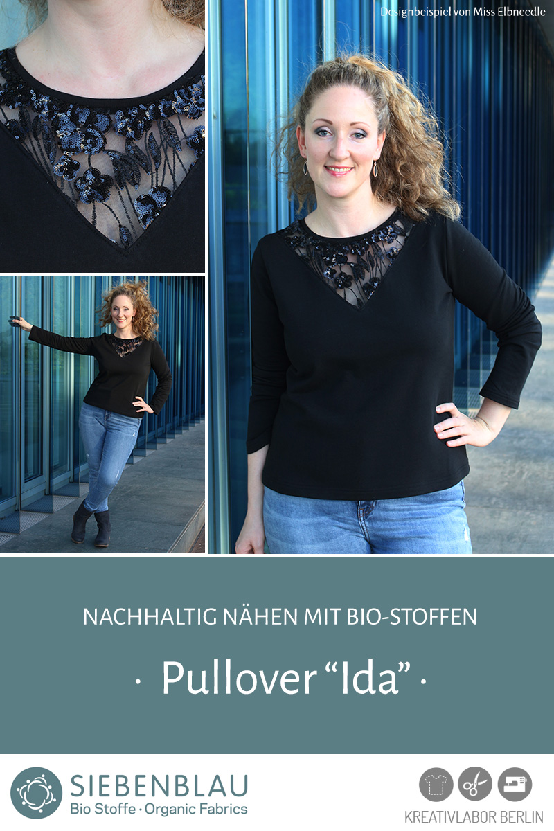 """Pullover """"Ida"""" genäht aus Siebenblau-Stoffen von Miss Elbneedle"""