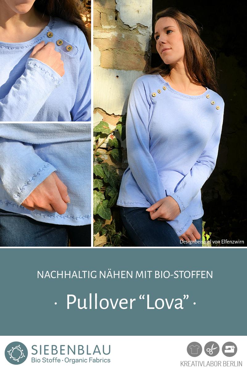 """Pullover """"Lova"""" genäht aus Siebenblau-Stoffen von Elfenzwirn"""