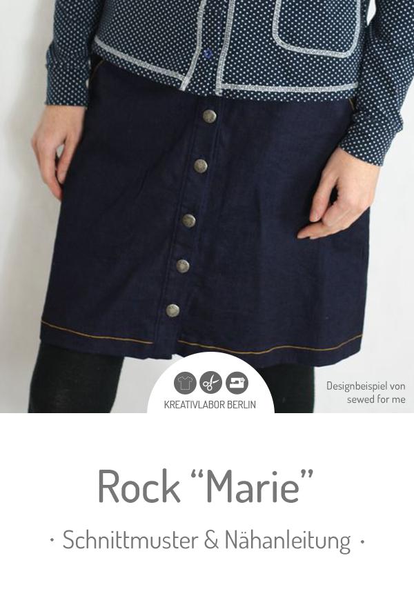 """Schnittmuster & Nähanleitung für den Rock """"Marie"""" #schnittmuster #nähen #rock #knopfleiste #damen #frauen #kreativlaborberlin"""