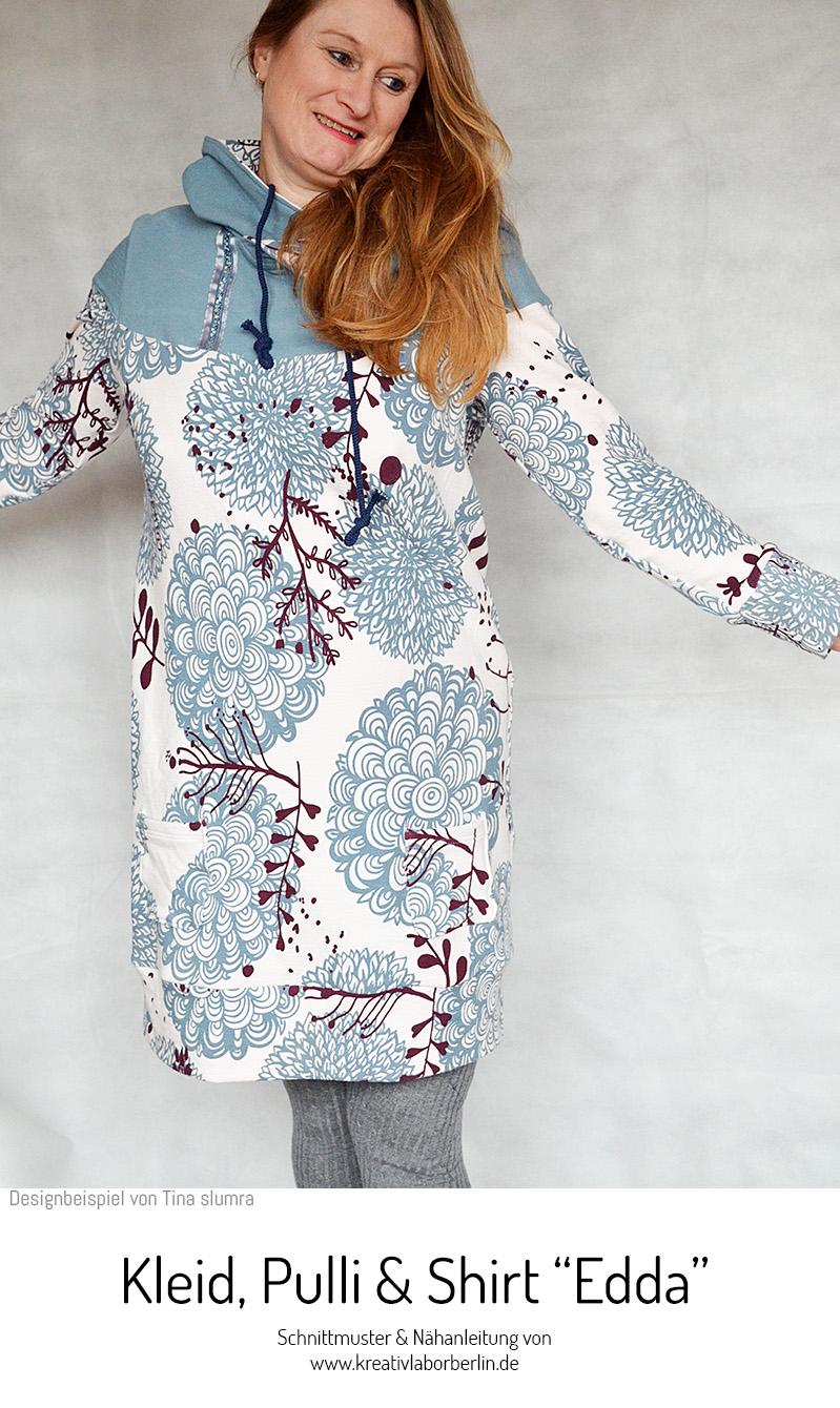 """Schnittmuster & Nähanleitung für Kleid / Shirt / Pullover """"Edda"""" #schnittmuster #schnittmusterdamen #nähenmachtglücklich #nähen #nähenfürmich #shirt #pullover #kleid #frauen #damen #kreativlaborberlin"""