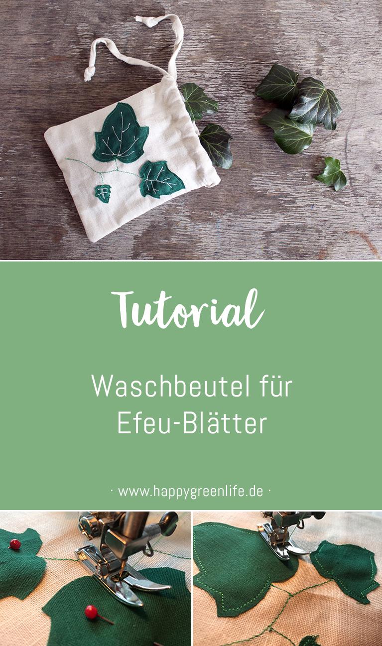Nähanleitung: Waschbeutel für Efeu-Blätter