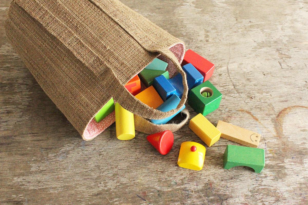 Nähanleitung: Aufbewahrungstasche für Holz- und Naturspielzeug